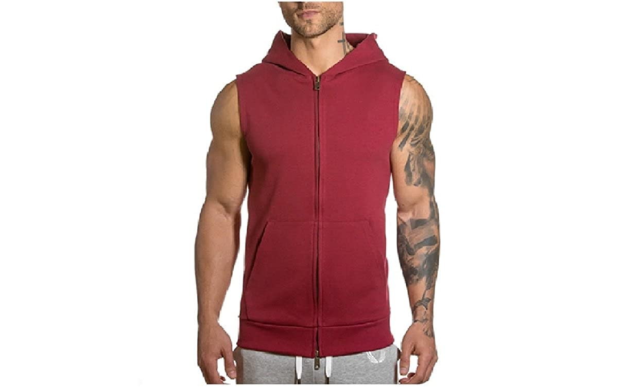 SportsX Mens Athletic Fit Pure Colour Cardigan Pocket Zip-up Tees Top