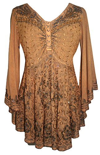 Agan Traders 116B Womens Medieval Butterfly Embroidered Sequin Flair Bell Sleeve Top Blouse