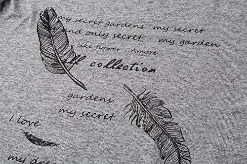 Maniche Autunno Felpe Rotondo Pullover A Lunghe Camicetta Camicia Bluse Grigio Casual Donna Primaverile Eleganti Relaxed Maglieria Collo Abbigliamento Maglioni Huixin Stampato 0Fwqpgq