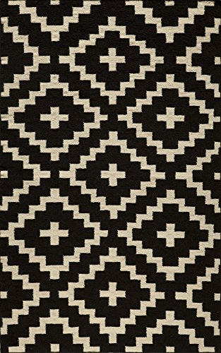 Momeni Rugs LAGUALG-04BLK5080 Laguna Collection, 100% Wool Hand Woven Flatweave Contemporary Area Rug, 5' x 8', Black