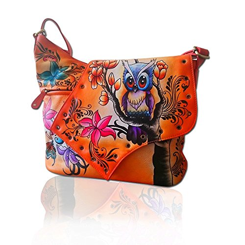 Real Nappa Leather Women's Handbag Hand Painted Hand made Shoulder Bag Hobo Satchel (Hand Painted Leather Bags)