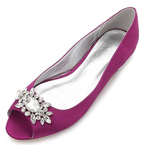 L@YC Frauen Hochzeit Schuhe F5049-30 Strass Hochzeit Brautschuhe Purple