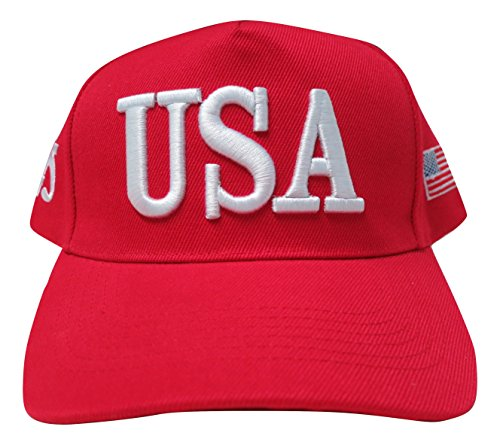 (TrendyLuz Make America Great Again Donald Trump MAGA Baseball Cap Hat (Red USA Flag 45))