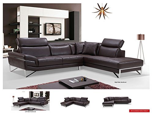 2194 Brown Leather Sectional (Chaise Right) by ESF