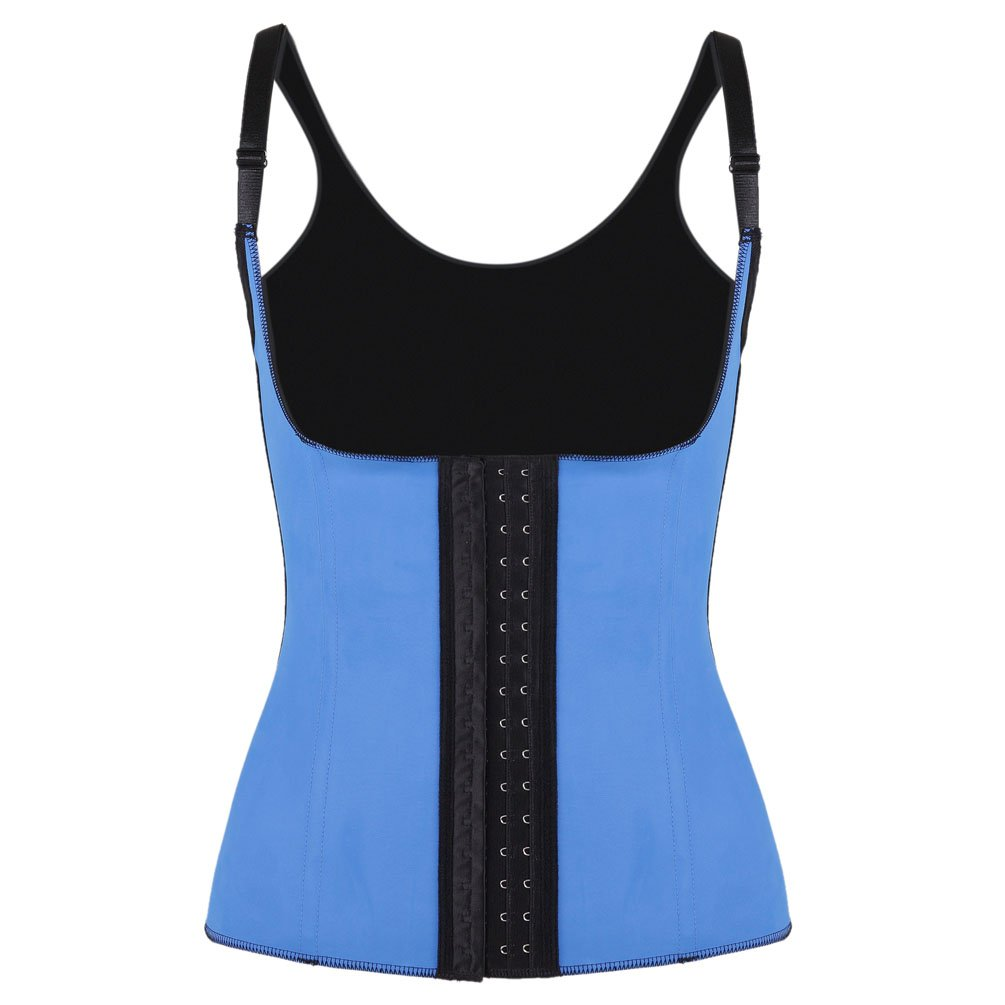 Romady Women's Workout Waist Cincher Trainer Underbust Latex Corset Vest With Straps RO1383