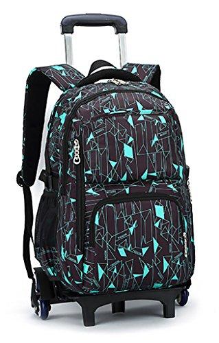 Meetbelify Kids Rolling Backpacks Luggage Six Wheels Unisex Trolley School Bags Green
