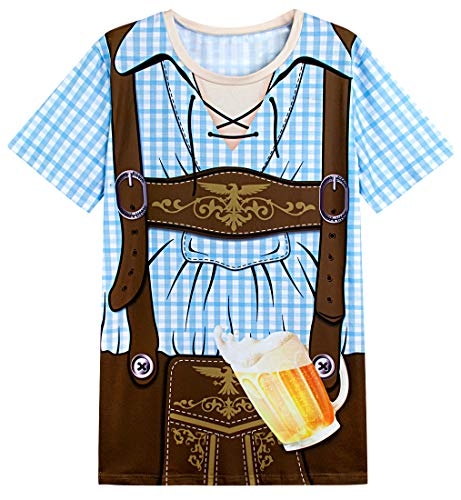 Funny World Men's Bavarian Oktoberfest Costume T-Shirts (L, Blue)]()