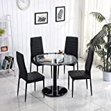 minifair Round Black tempered Glass Dining Table Sets And 4 Black Chairs Faux Leather Chrome Legs