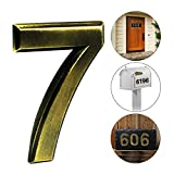 iMustech Mailbox Numbers, 2 Pcs/Set Solid Self-stick Number 7 for Mailbox, Door, Apartment, Hotel, 2-3/4 Inch, 3D Metal Brass