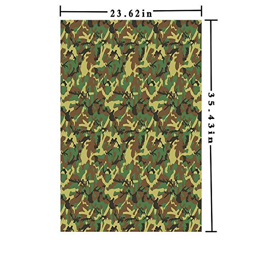 Removable Static Decorative Privacy Window Films 3D Printed Decorative Kitchen/Home/Office/, Woodland Camouflage Pattern Abstract Army Force Hiding in Jungle Glass Film (23.62in. by 35.43in),Dark Gr