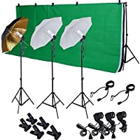 TMS Photo Studio Photography Kit W/3 Light Bulb Lighting Muslin 3 Backdrop Stand Set