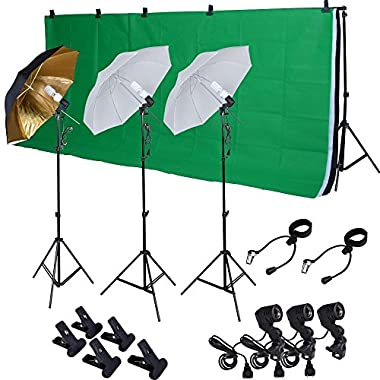 TMS® Photo Studio Photography Kit W/3 Light Bulb Lighting Muslin 3 Backdrop Stand Set