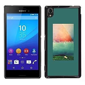 Caucho caso de Shell duro de la cubierta de accesorios de protección BY RAYDREAMMM - Sony Xperia M4 Aqua - texto verde verde azulado cita de motivación