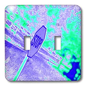 3dRose LLC lsp_79943_2 A Stop Sign In Neon Aqua And Purple On A Street Corner Double Toggle Switch
