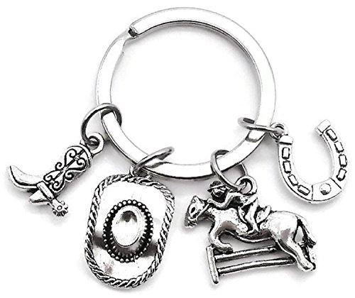 Cowboy Keychain, Cowgirl Keychain, Cowboy hat Keychain, Cowboy Boots Keychain, Horseshoes Keychain, Horse Riding Keychain, Gift for Horse Lover, Gift for Cowboy, Gift for Cowgirl, Cowboy Key Ring (Horseshoe Key Ring)