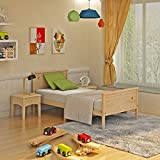 Keinode Single Bed 3ft Single Sleigh Solid Wooden Frame for Adult Kids Child or Children (Woode Color TypeB)