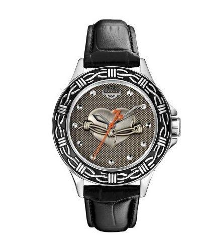 Harley-Davidson Women's Bulova Heart & Barbed Wire Wrist Watch 76L165
