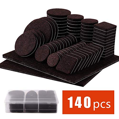 Furniture Pads 140 Pcs - Self Adhesive Floor Protector Chair Pads Variety Pack - Wood Furniture Noise Reduction Bumpers & Protectors for Hardwood & Laminate Flooring (Brown)