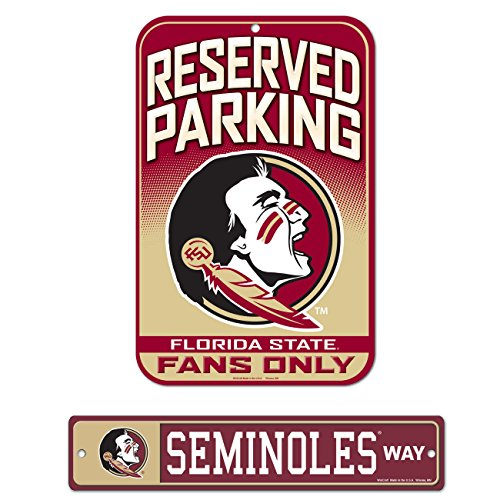 WinCraft Bundle - 2 Items: Florida State University Plastic Street Sign and Reserved Parking Sign