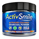 ActivSmile - USA Made - Organic Natural Teeth Whitening - Activated Coconut Charcoal Powder - Tooth Whitener for Sensitive Teeth, Gum Powder - Better than Whitening Toothpaste, Strips, Kits & Gel