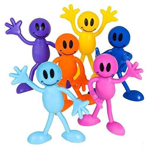 Blue Green Novelty Bulk Toys 1 Dozen Smiley Face Men Bendables, Birthday Party Supplies, Easter Basket Fillers, Goody Bag Stuffers - Man Goody Bag