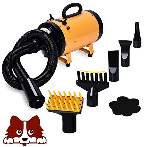 (Free Paws 3.2HP 2 Speed Adjustable Heat Temperature Pet Dog Grooming Hair Dryer Blower Professional with 5 Different Nozzles)