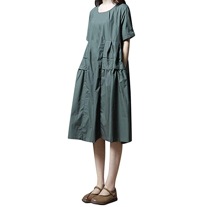 FRAUIT Damen Frauen Kurzarm Strandkleid Beiläufiges