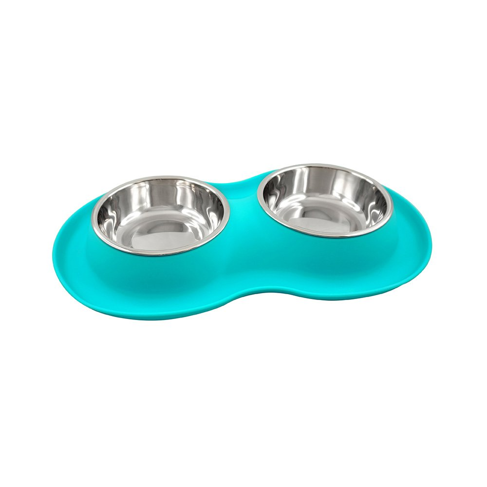 FFDPET Silicone Pet Bowl for Dogs & Cats, Small, Teal