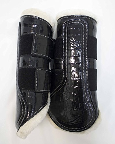Delfina Limited Edition Patent Leather Splint Brushing Dressage Sport Boots Horse/Full Size Black