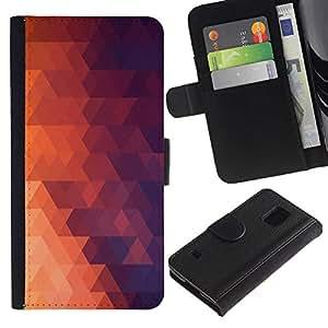 EJOY---Tirón de la caja Cartera de cuero con ranuras para tarjetas / Samsung Galaxy S5 V SM-G900 / --Geometría Red Triangle