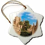3dRose Danita Delimont - Cities - Spain, Balearic Islands, Mallorca, Palma de Mallorca, stone towers - 3 inch Snowflake Porcelain Ornament (orn_277905_1)