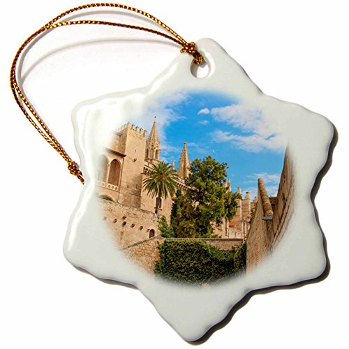3dRose Danita Delimont - Cities - Spain, Balearic Islands, Mallorca, Palma de Mallorca, stone towers - 3 inch Snowflake Porcelain Ornament (orn_277905_1) by 3dRose