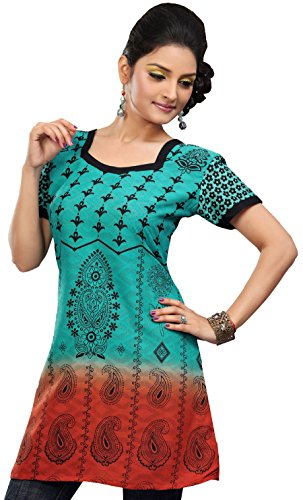 Indian-Tunic-Top-Womens-Long-Kurti-Cotton-Blouse-India-Clothes