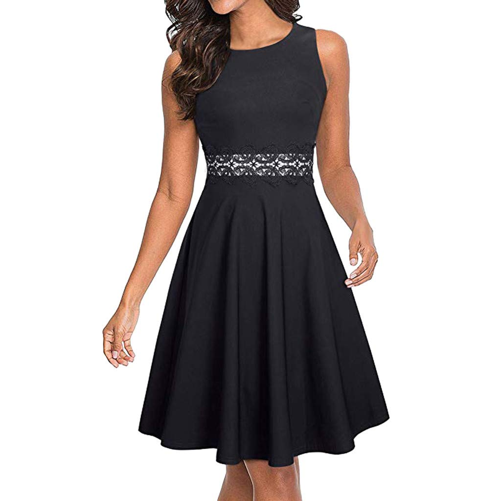 RoDeke Ladies Summer Solid Color Sleeveless Round Neck Lace Panel Elegant Beach Party Dress Black