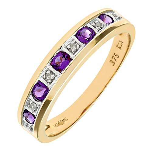 Bague Femme - Or jaune (9 carats) 2.45 Gr - Améthyste - Diamant 0.02 Cts