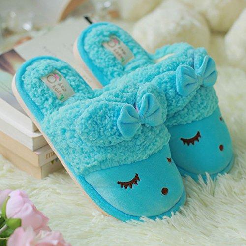DogHaccd pantofole,Il cotone pantofole da femmina a maschio coppie inverno pacchetto di soggiorno nel gancio incantevole inverno caldo pantofole di peluche.,Blu cielo38-39