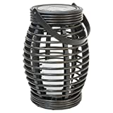 Threshold Solar Wicker Lantern Flickering LED Pagoda Rattan Basket Outdoor Light Backyard Patio Lighting, Dark Brown (1)