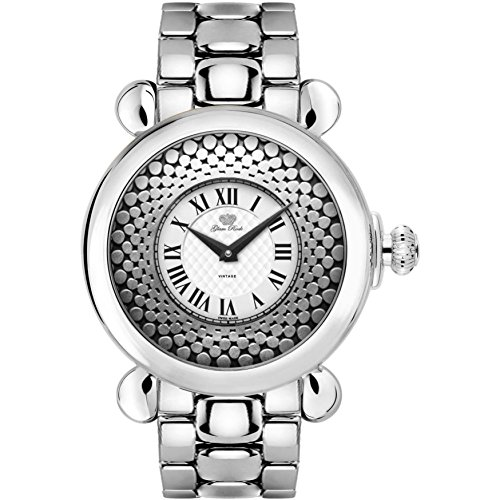 Glam Rock Women's Vintage 40mm Steel Bracelet & Case Swiss Quartz White Dial Analog Watch GR28071