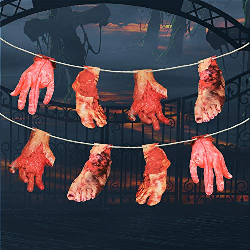 8PCS 2018 Halloween Party Horror Decorations Bloody Feet Hand Horror Garland Hanging Banner for Indoor and Outdoor Decoration(8FT)