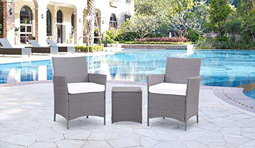 Kailua Furniture LULU Chic Outdoor All-Weather Wicker (3 Piece Set) Bistro Chairs, Side Table, Removable UV-Resistant Cushions,(Gray/Ivory)