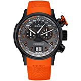Edox Men's Chronorally 48mm Orange Leather Band Titanium Case Quartz...