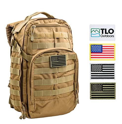 TLO Outdoors Tactical Rush Backpack - TacPack12 24L Storage Backpack [Olive/DesertTan] with MOLLE System, Hydration Pocket, Plus Bonus Pack of Four SWAPPABLE Velcro Patches, Including 3 US Flags