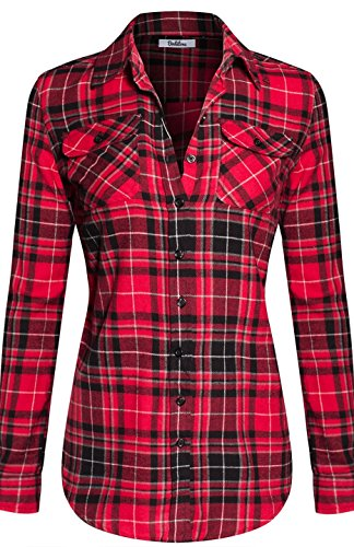 BodiLove Womens Warm Flannel Long Roll Up Sleeve Button Up Plaid Shirt