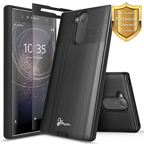 NageBee [Brushed] Case Compatible with Sony Xperia XA2 Ultra w/[Full Coverage Tempered Glass Screen Protector] Premium Heavy Duty Armor Defender Dual Layer Protective Shock Proof Case (Black)