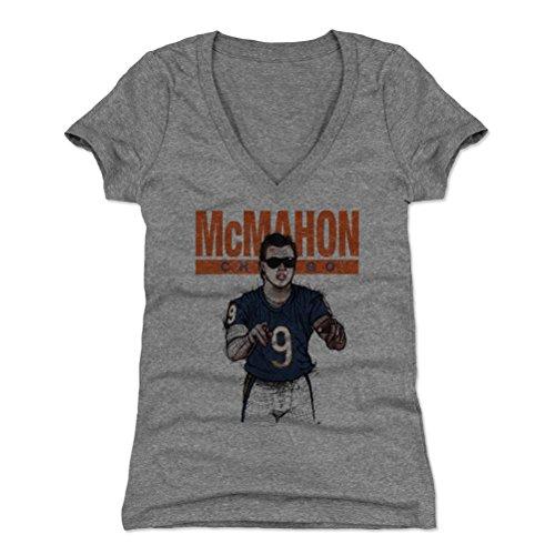 Jim Mcmahon Football - 500 LEVEL Jim McMahon Women's V-Neck Shirt X-Large Tri Gray - Vintage Chicago Football Women's Apparel - Jim McMahon Sketch B