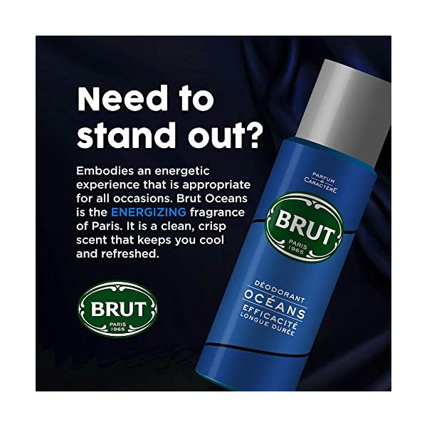 Brut Deodorant Spray for Men, Oceans, Long Lasting Deo with Fresh Aquatic Scent, 200 ml 2021 August Quantity: 200ml; Item Form: Spray Embodies an energetic experience that is appropriate for all occasions, Brut oceans is a fresh aquatic version of the classic men's fragrance