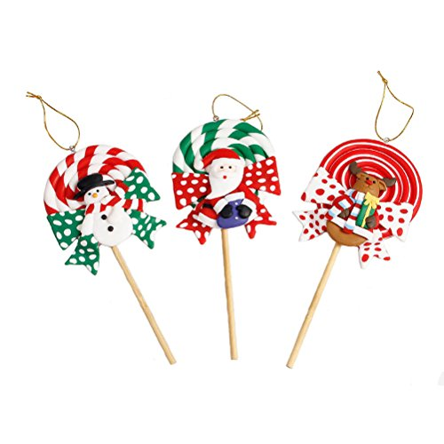 Tinksky Christmas Decor Polymer Clay Lollipop Desktop Decoration Ornaments Kids Gift Kindergarten Decor For Christmas Home Party (Santa Claus Snowman Reindeer)