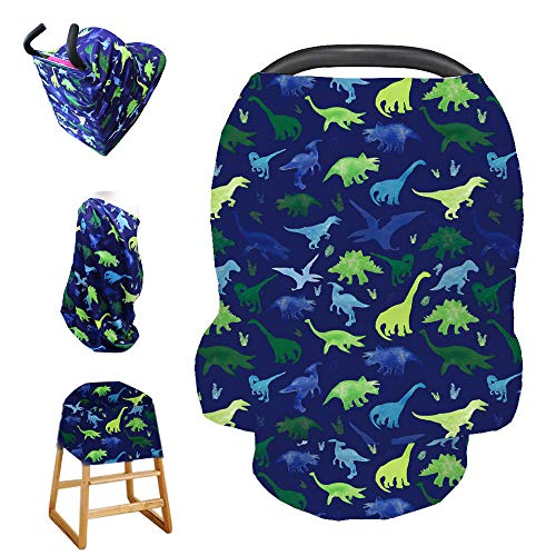 Stretchy Baby Carseat Cover with 4-in-1 Multi-use for Baby Carseat & Nursing/Versatile Breastfeeding Scarf & Stroller & Feeding high Chair Cover for Baby Boys by TIANNUOFA(Watercolor Dinosaur) (Infant Car Seat Covers For Boys)