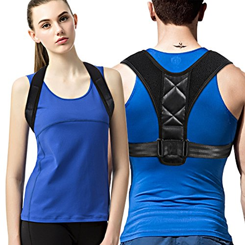 Posture Corrector Clavicle Chest Support Brace for Men and Women, Prevent Slouching and Back Pain Relief with Two Soft Pad (REG 28''- 47'') by WEIJI