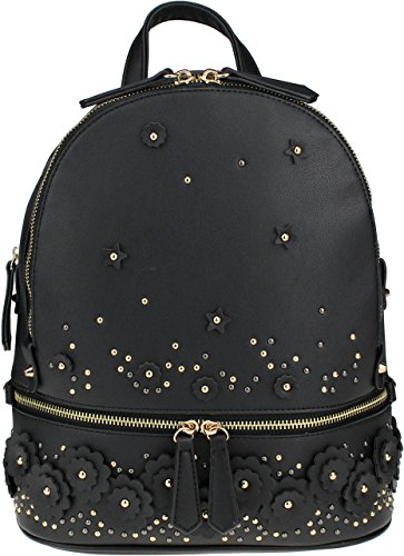 Patchwork Handbag Purse - B BRENTANO Vegan Medium Floral Patchwork Fashion Backpack (Black)